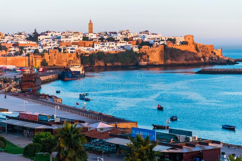 Seafront and Kasbah in medina of Rabat, Morocco stock photography