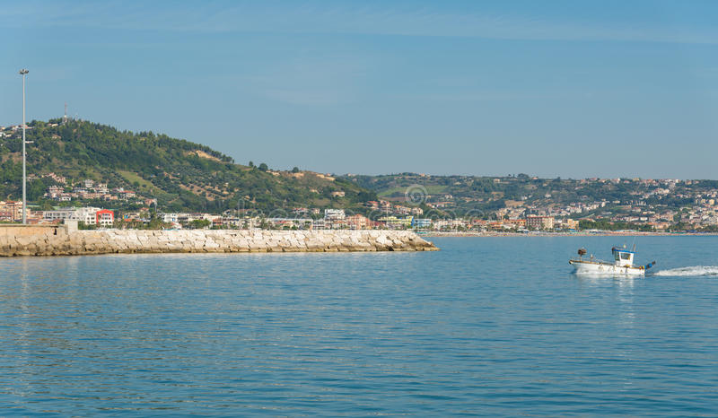 Seafront of San Benedetto del Tronto - Ascoli Piceno -Italy. Panoramic view of seafront of San Benedetto del Tronto sea Adriatrico - Ascoli Piceno -Italy stock images