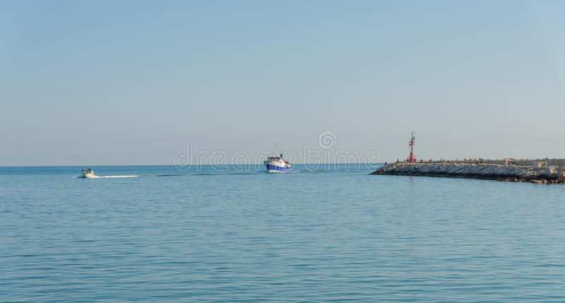 Seafront of San Benedetto del Tronto - Ascoli Piceno -Italy. Panoramic view of seafront of San Benedetto del Tronto sea Adriatrico - Ascoli Piceno -Italy royalty free stock photography