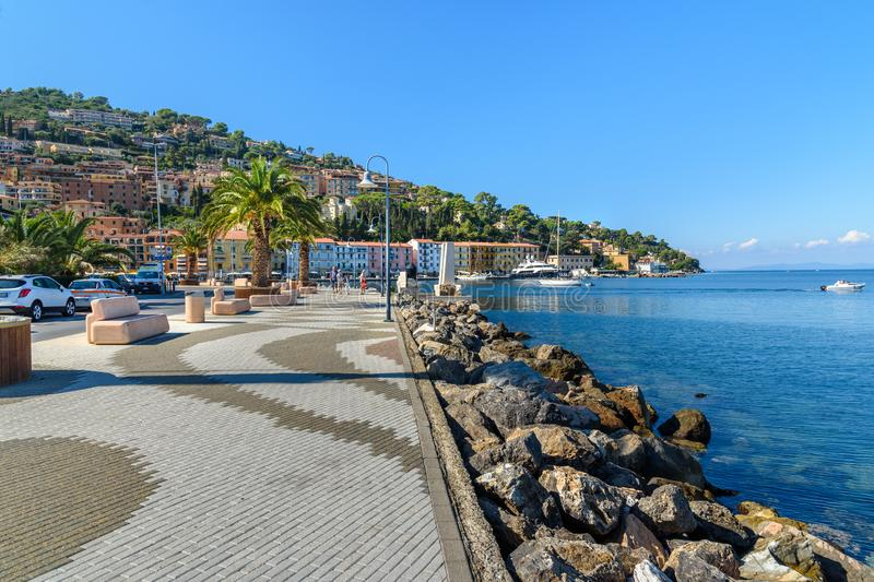 Seafront of seaport town Porto Santo Stefano in Monte Argentario. Tuscany. Italy royalty free stock images