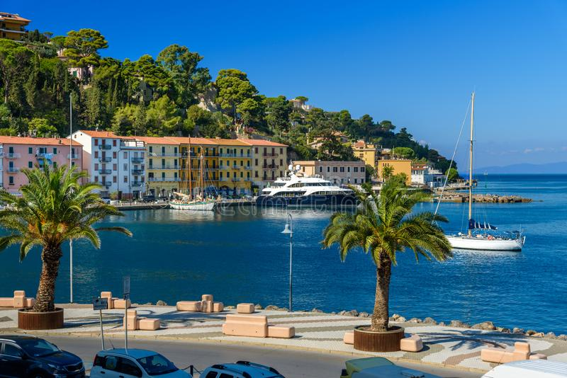 Seafront of seaport town Porto Santo Stefano in Monte Argentario. Tuscany. Italy royalty free stock image