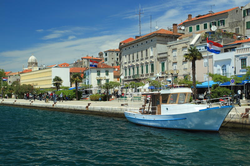 Seafront in Sibenik. Being adjacent to historic center of this town, Croatia stock photography