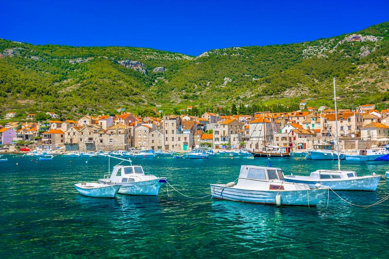 Summer landscape in Komiza, Vis island. stock images