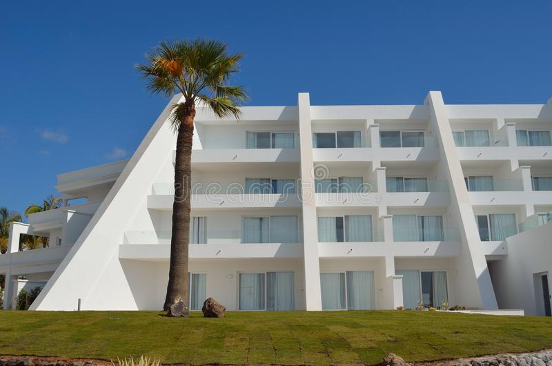 Seafront White Washed Holiday Hotel with Palm Tree royalty free stock photos