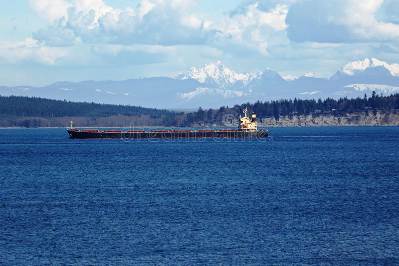 Seagoing Cargo Ship in Puget Sound royalty free stock photography