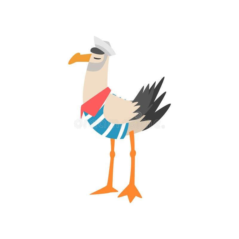 Seagull ναυτικός, αστείος χαρακτήρας κινουμένων σχεδίων πουλιών στη ριγωτή φανέλλα και διανυσματική απεικόνιση ΚΑΠ ελεύθερη απεικόνιση δικαιώματος