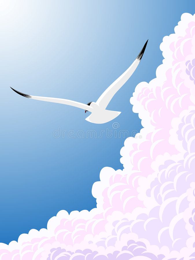Download Seagull and clouds stock illustration. Illustration of flying - 3298230