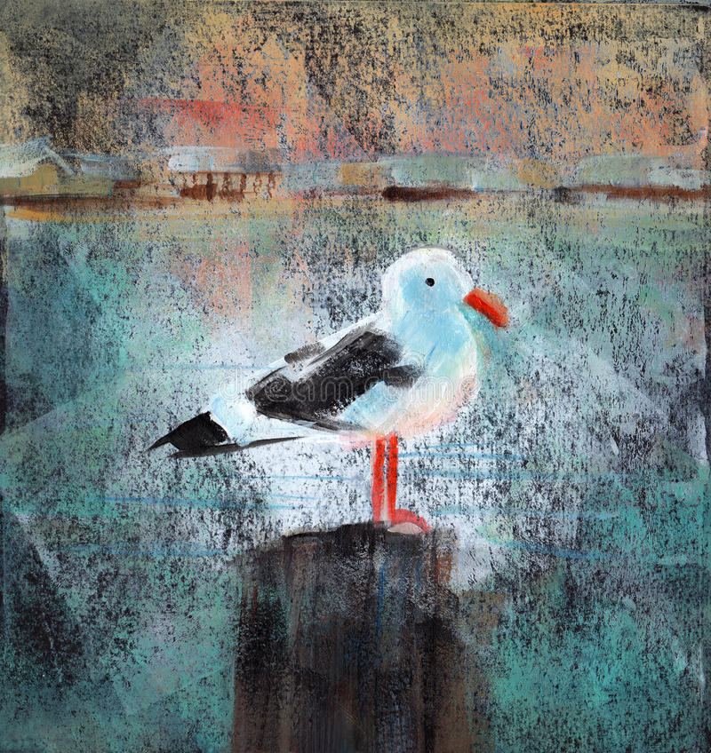 Seagull At The Dock. Acrylic painting of a seagull standing on a wooden dock post vector illustration