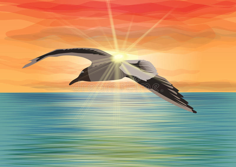 Seagull flying over the sea in front of the sun