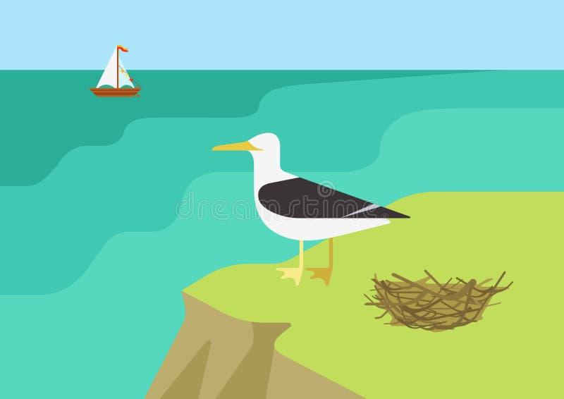 Seagull frajera gniazdeczka plaży płaskiej kreskówki dzikich zwierząt wektorowi ptaki royalty ilustracja