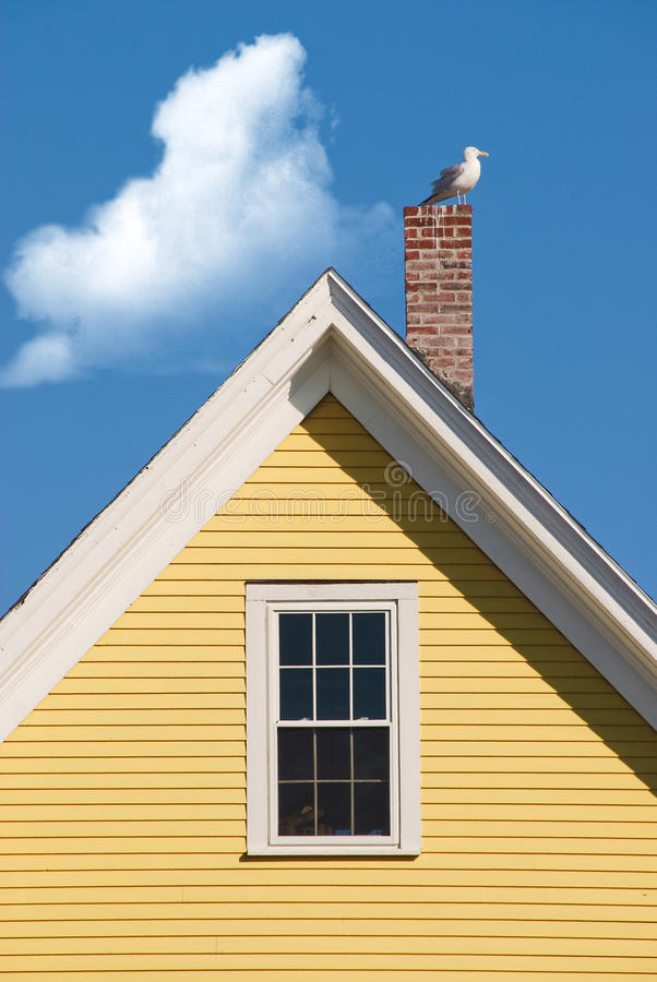 Free Seagull On Yellow Gable Royalty Free Stock Image - 15618116