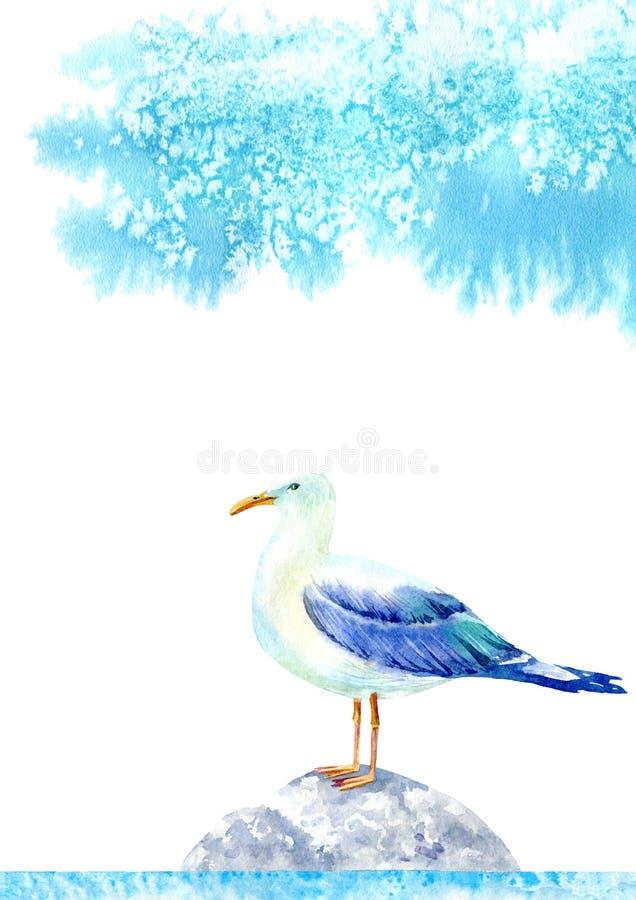 Seagull på en sten och en blå himmel royaltyfri illustrationer