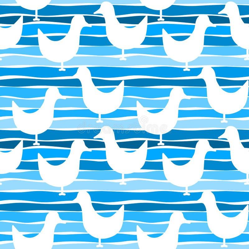 Seagull ptaków bezszwowy wzór ilustracji