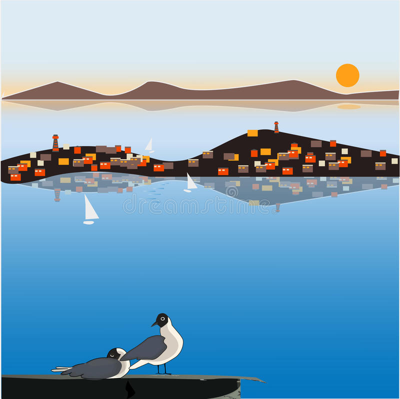 Download A Seagull On The Roof, A Small Town On A Small Island, Lighthouses And Mountains, A Beautiful View Of The Sea. Vector Image For De Stock Vector - Illustration: 90714500