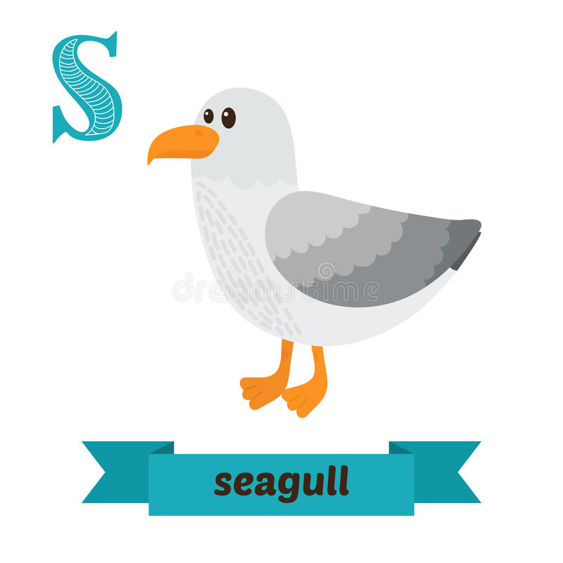 Seagull. S letter. Cute children animal alphabet in vector. Funny cartoon animals royalty free illustration
