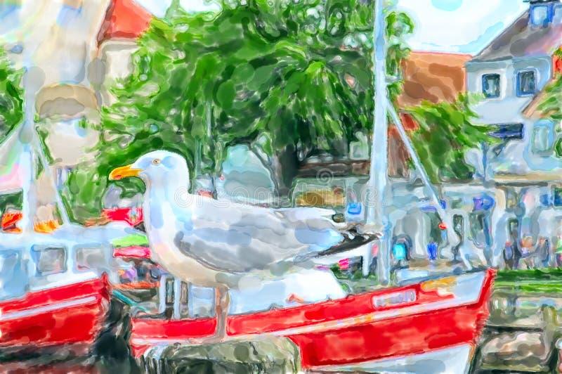 Seagull sitting on pier. Illustration of Warnemunde harbor at Baltic sea in Germany.  stock illustration