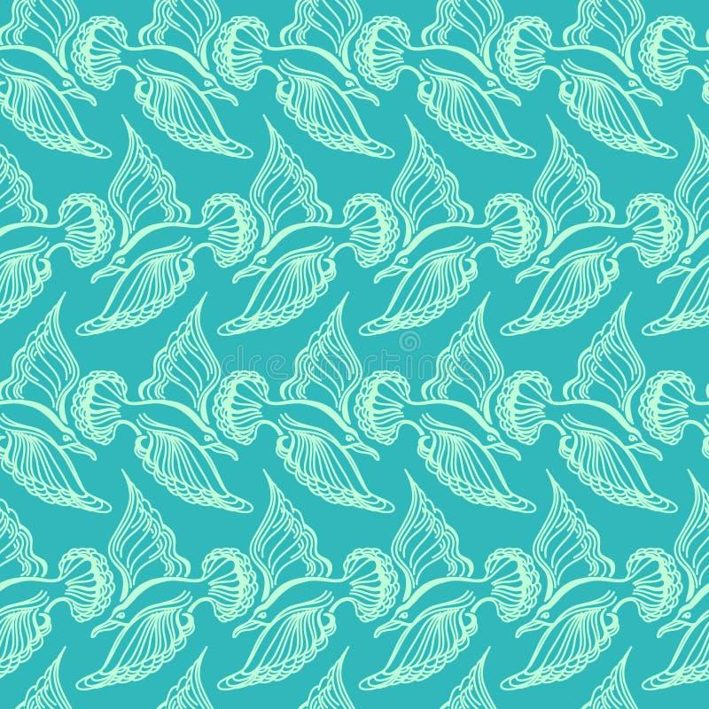 Seagullfågelteckning Sömlös modell för sommarhav stock illustrationer