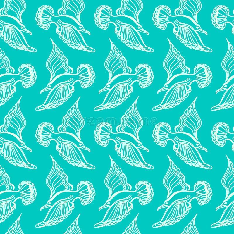 Seagullfågelteckning Sömlös modell för sommarhav illustration vektor illustrationer