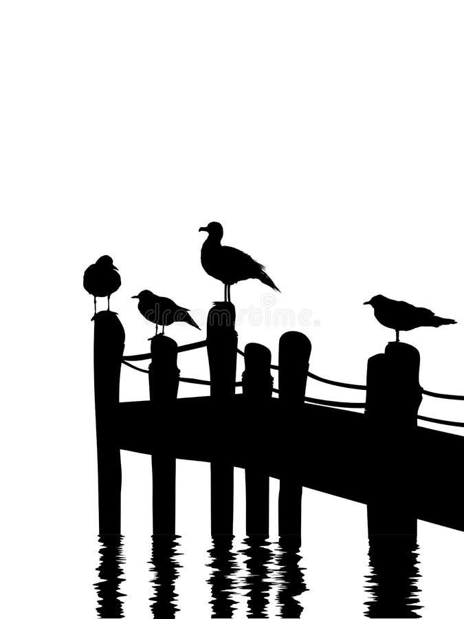 Seagulls από την αποβάθρα απεικόνιση αποθεμάτων