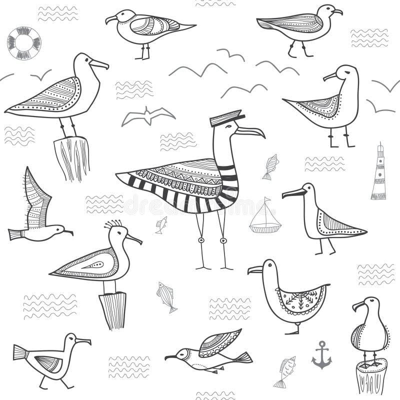 Seagulls bezszwowy wzór w etnicznym plemiennym boho stylu royalty ilustracja