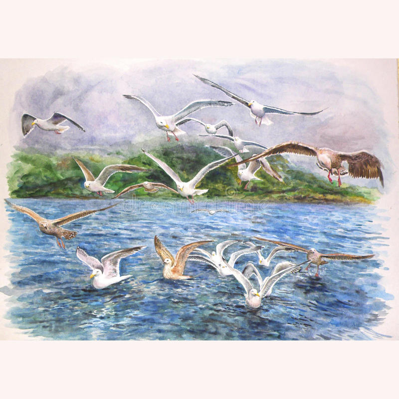 Seagulls flying over the sea royalty free illustration