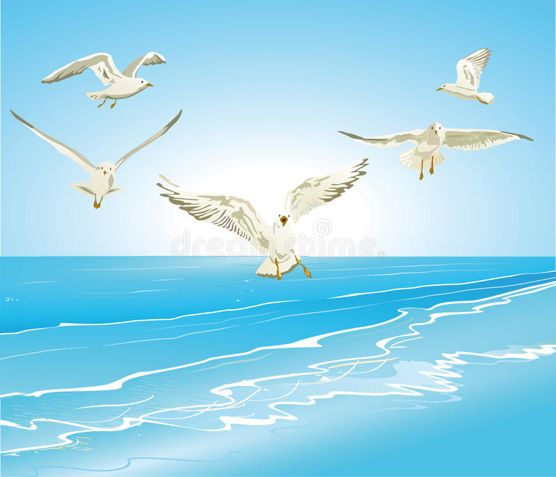Seagulls flying over sea royalty free illustration