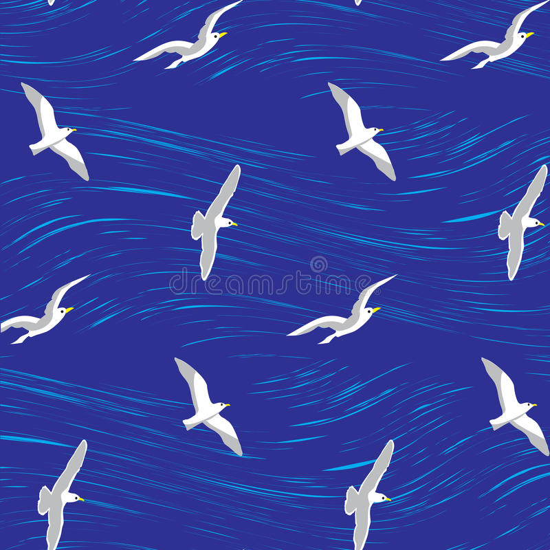 Seagulls over the sea seamless background. Vector illustration. may be useful as wallpaper, background in travel advertising, also for print, fabric, wrapping vector illustration