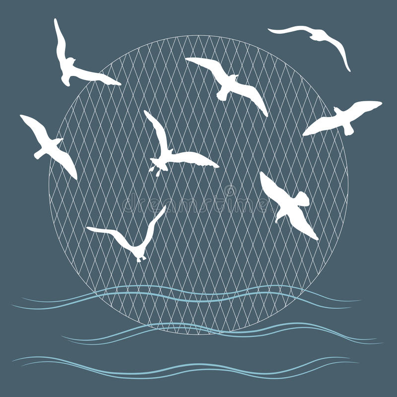 Download Seagulls over waves stock vector. Illustration of badge - 34119365