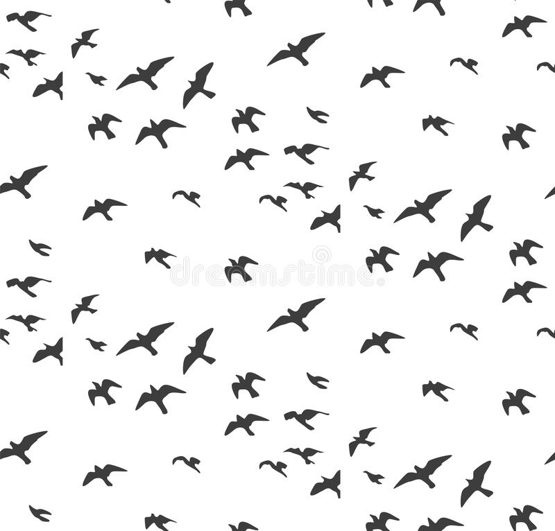 Seagulls silhouettes seamless pattern. Flock of flying birds gray silhouette. Dove, sea-gull sketch abstract bird Vector for wrap. Ping paper cute design fabric vector illustration
