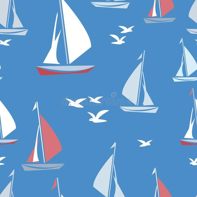 seagulls statki royalty ilustracja
