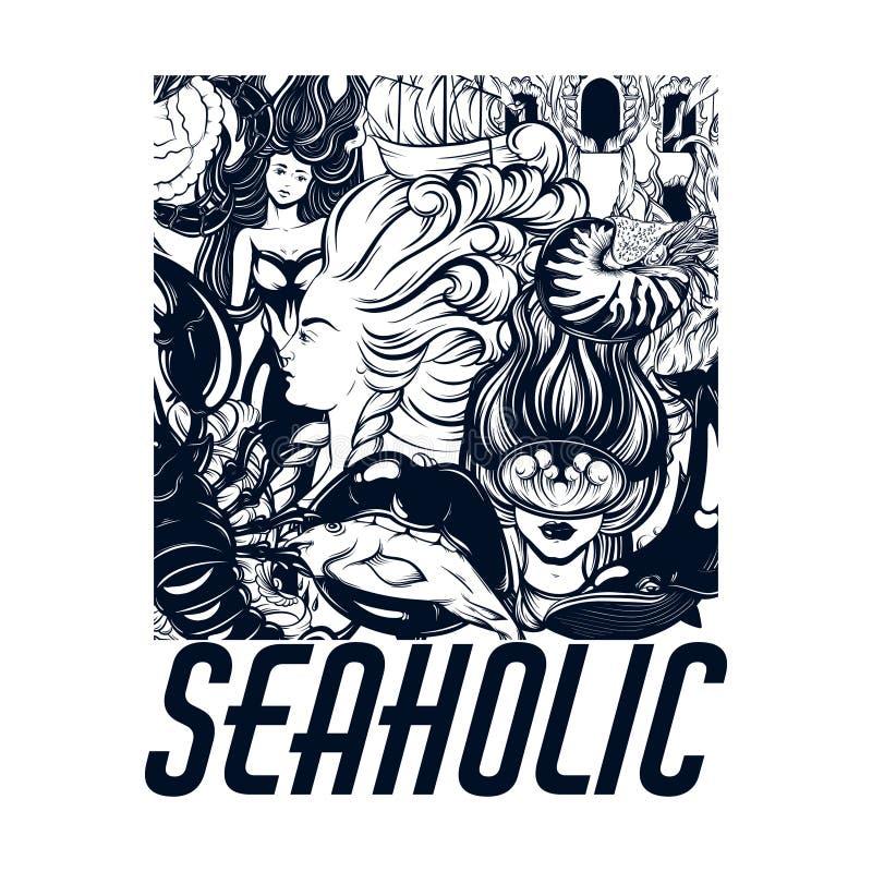 Seaholic Dragit plakat för vektor hand med inskriften och illustration av dykaren, sjöjungfru, mun med fisken, nautilusskal, canc stock illustrationer