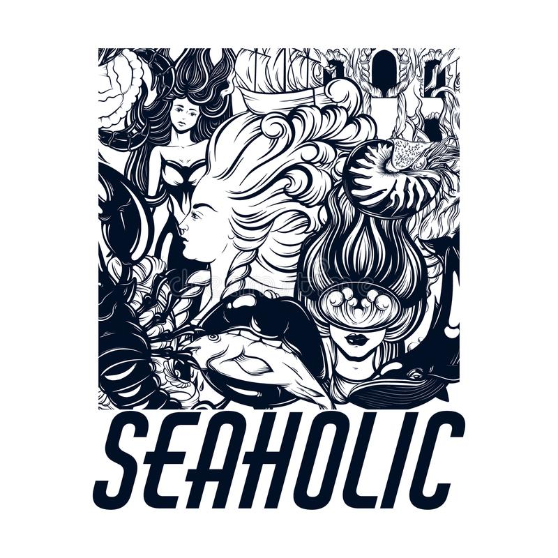 Seaholic Vector el cartel dibujado mano con la inscripción y el ejemplo del buceador, sirena, boca con los pescados, cáscara del  stock de ilustración