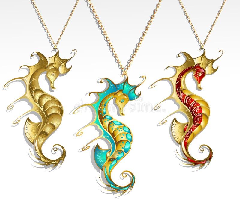 seahorse 3 золота иллюстрация вектора