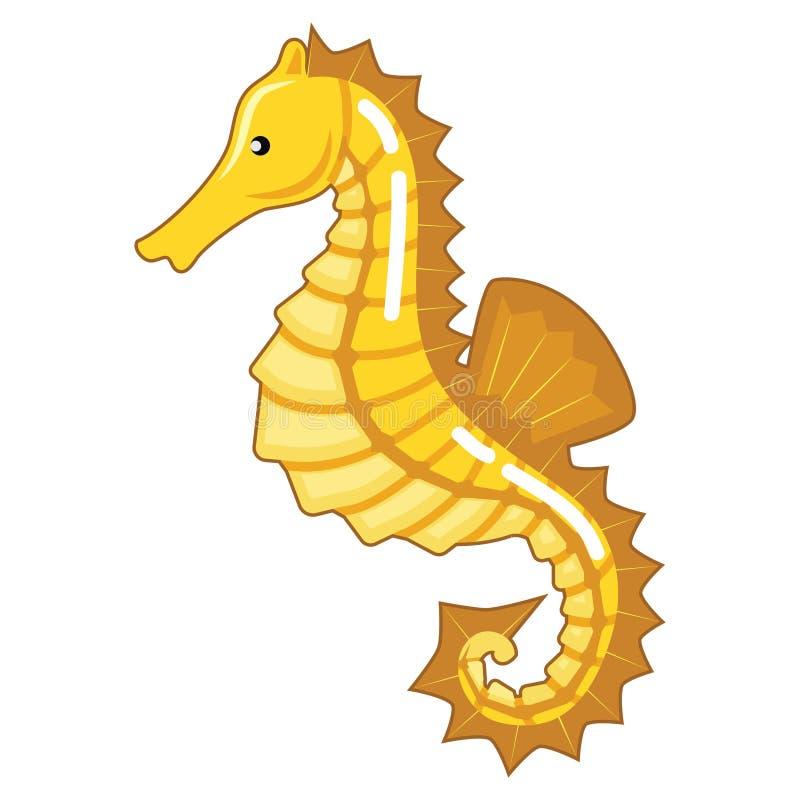 Seahorse amarillo fresco ilustración del vector