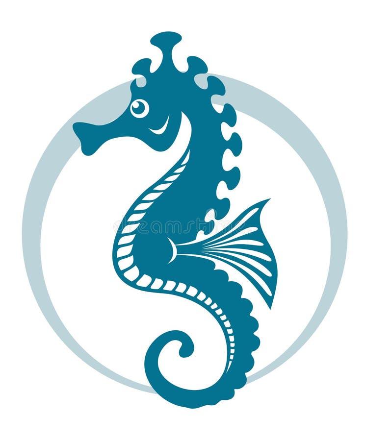 Seahorse azul stock de ilustración