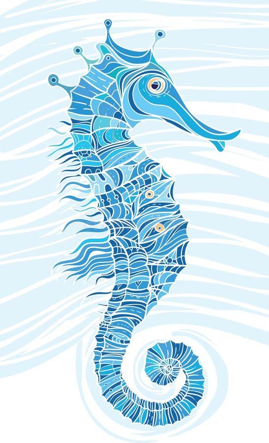 Seahorse azul del mosaico ilustración del vector