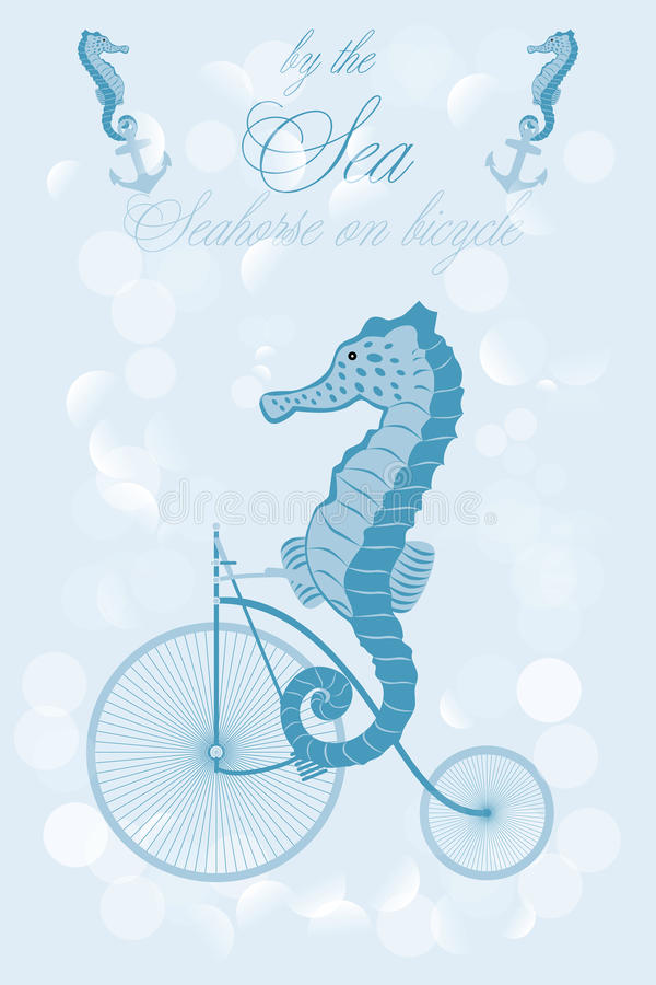 Seahorse on bicycle. Illustration - available as jpg and eps-file vector illustration