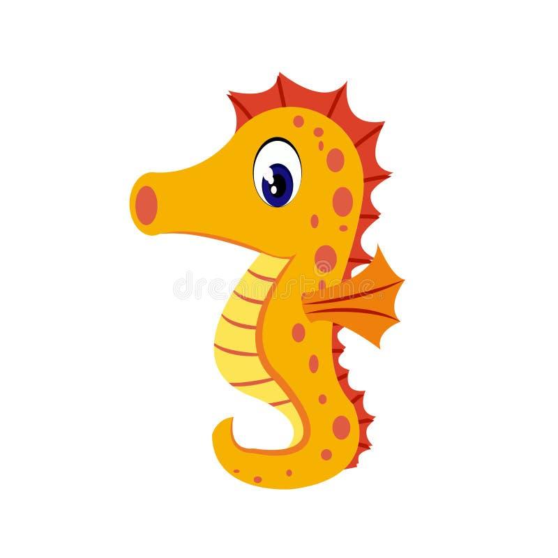Seahorse cartoon or Seahorse Clipart cartoon isolated on white background. Illustration stock illustration