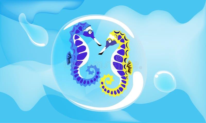 Seahorse colorido de los pares en el mar azul profundo ilustración del vector