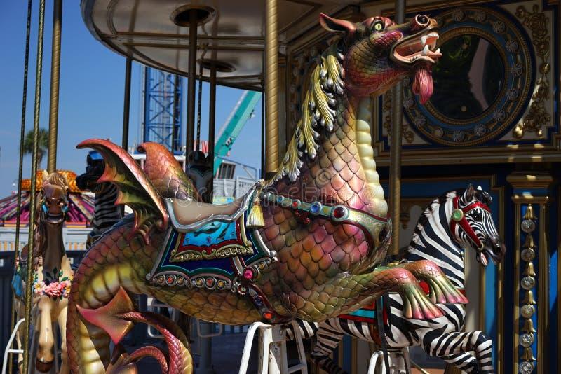Seahorse dragon carousel ride royalty free stock image