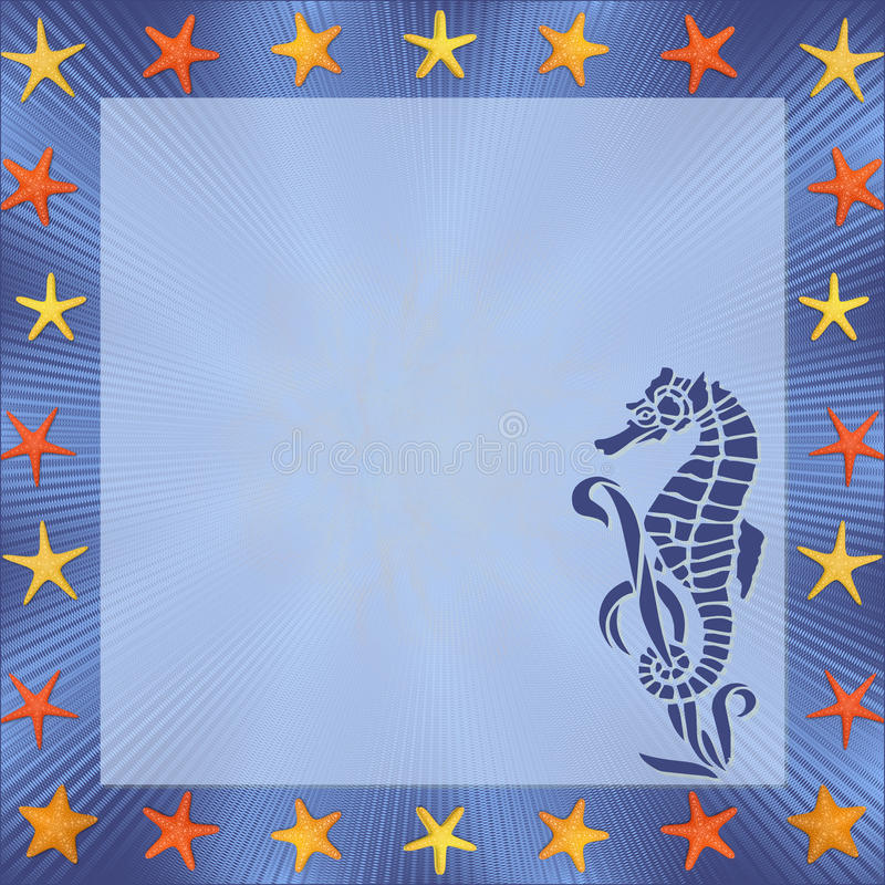 Seahorse Frame. Beautiful frame with seahorse-Illustration royalty free illustration
