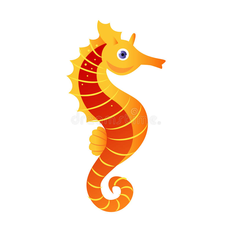 Seahorse or hippocampus, sea creature. Colorful cartoon character stock illustration