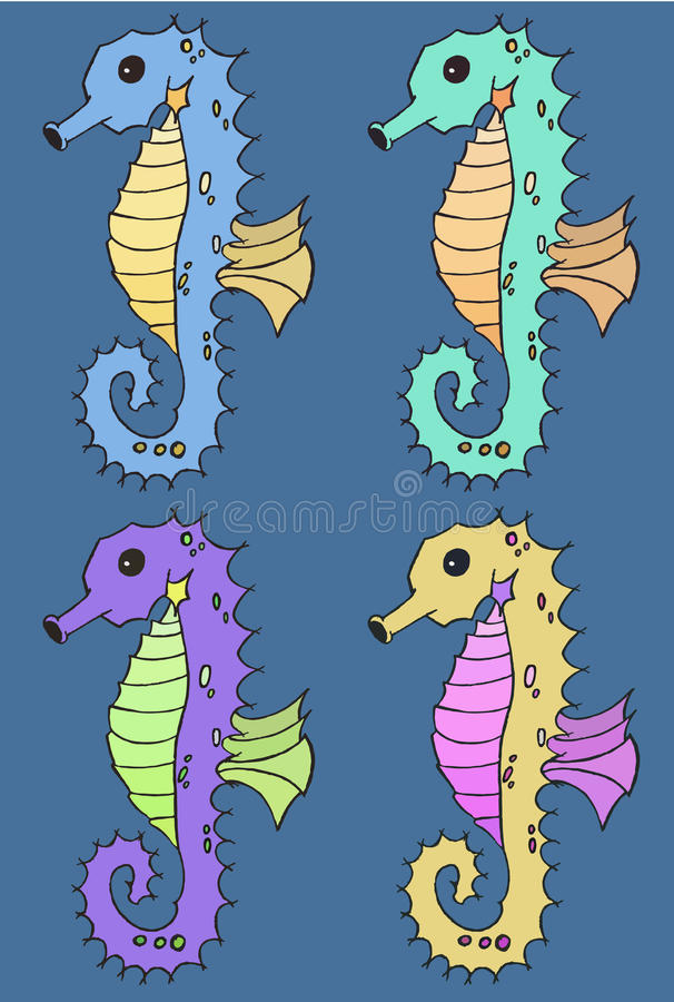 Seahorse ilustraci wektorowy set royalty ilustracja