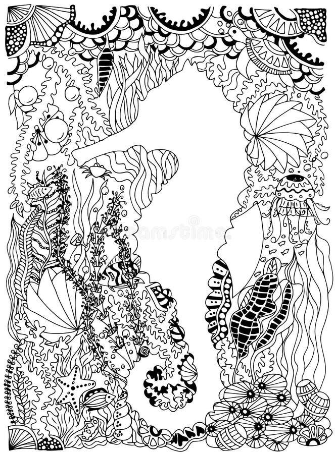 Seahorse in oceaan met zeewier en vissen Vector beeld vector illustratie