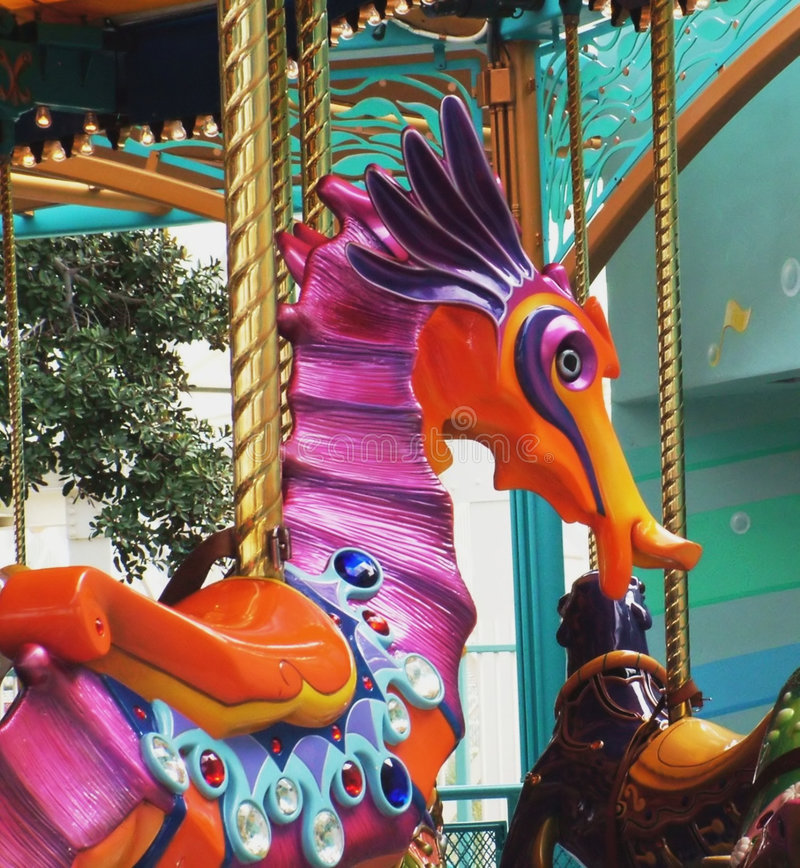 Download Seahorse Ride stock photo. Image of brass, pole, family - 109094