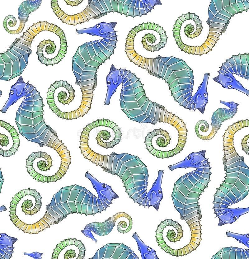 Seahorse Seamless Pattern Tile Royalty Free Stock Image