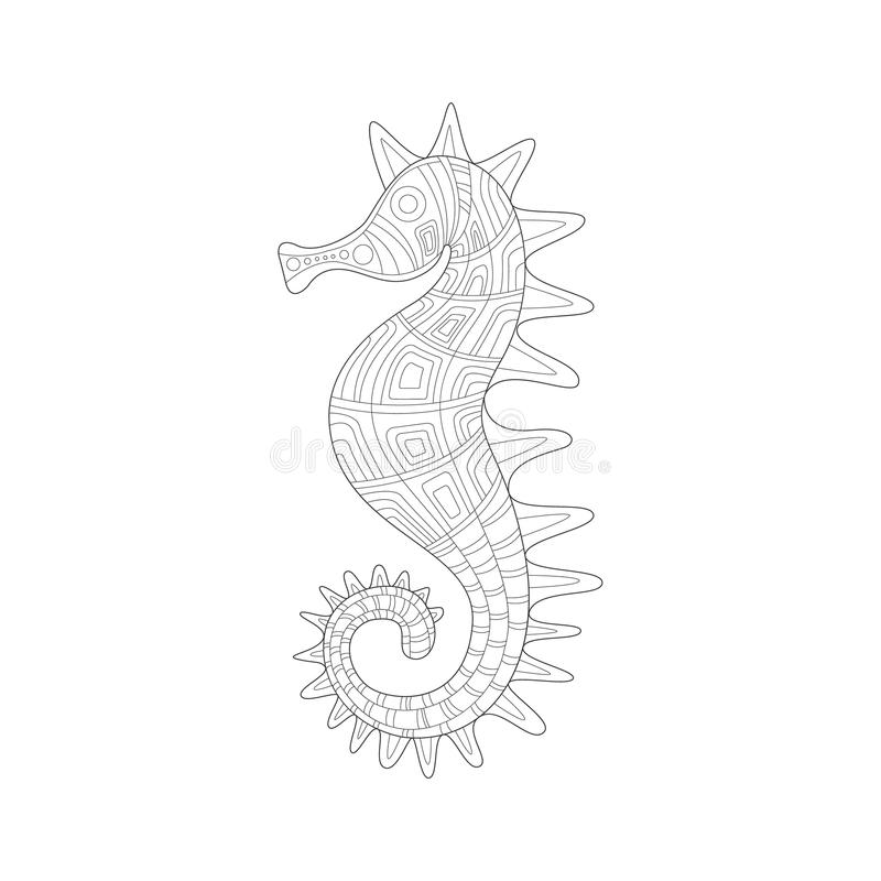 Seahorse-See-Unterwasser- Natur erwachsene Schwarzweiss--Zentangle-Malbuch-Illustration lizenzfreie abbildung
