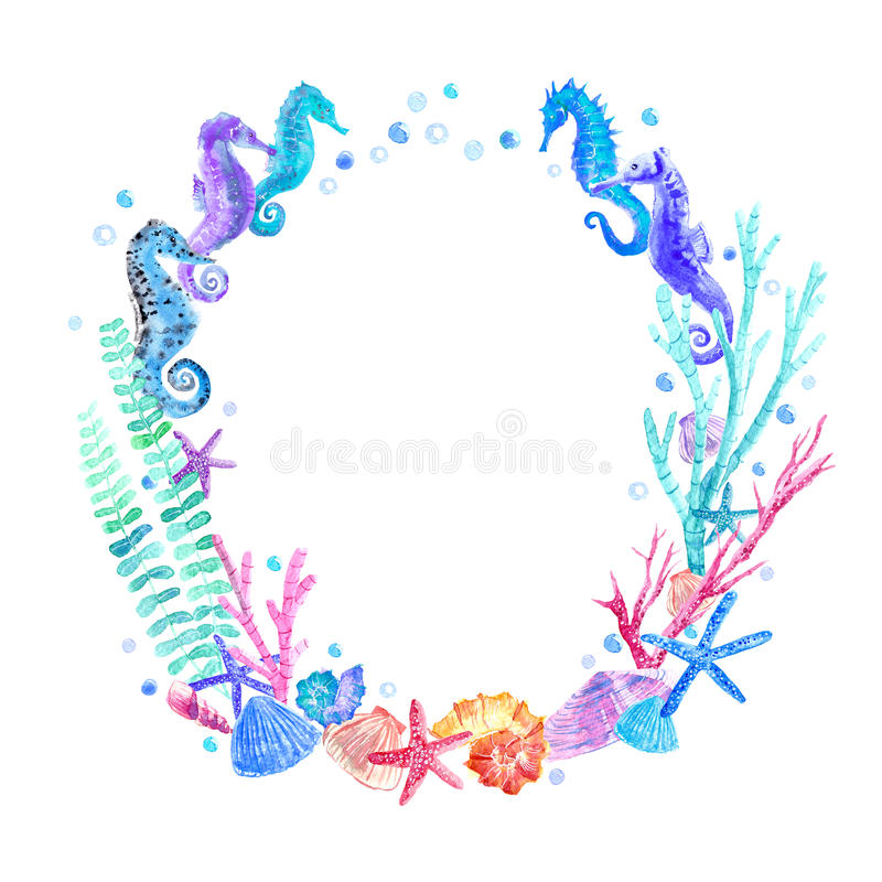 Seahorse, shell, starfish, seaweed, coral and bubbles wreath. Underwater world image on a white background.Watercolor hand drawn illustration stock illustration