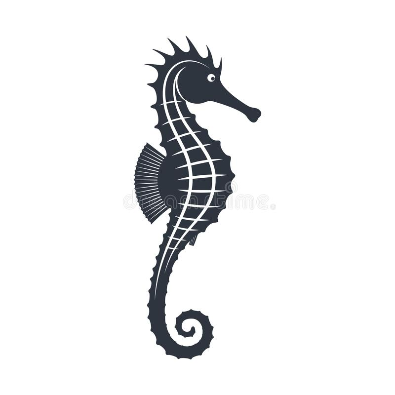 Seahorse graphic sign. Seahorse graphic icon. Seahorse black silhouette isolated on white background. Sea life symbol. Tattoo. Logo. Vector illustration vector illustration