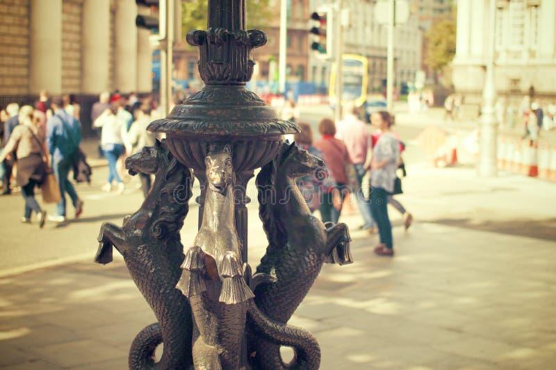 Seahorse statue in city square stock photo